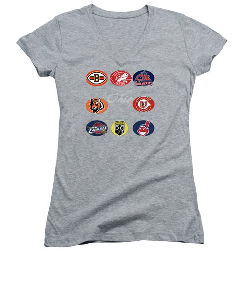 Ohio Professional Sport Teams Collage Women's V-Neck T-Shirt (Junior Cut) by Movie Poster Prints