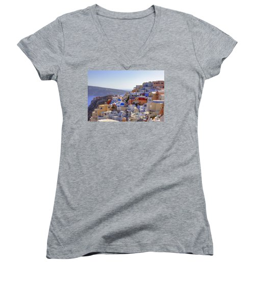 Oia - Santorini Women's V-Neck (Athletic Fit)