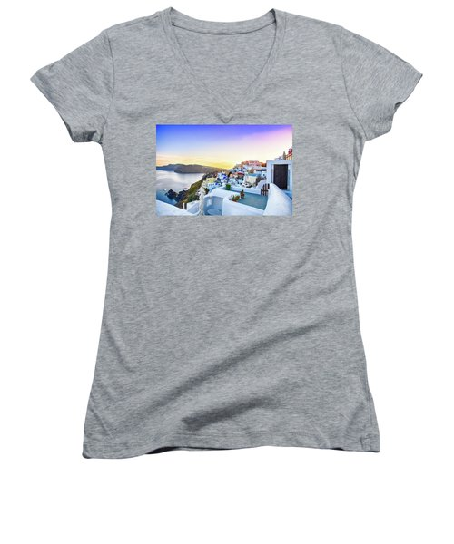 Oia, Santorini - Greece Women's V-Neck T-Shirt (Junior Cut) by Stavros Argyropoulos