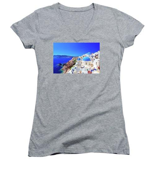 Oia Town On Santorini Island, Greece. Caldera On Aegean Sea. Women's V-Neck (Athletic Fit)