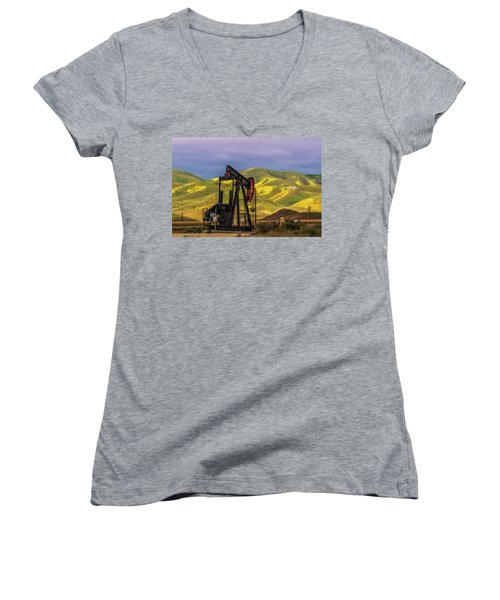 Women's V-Neck T-Shirt (Junior Cut) featuring the photograph Oil Field And Temblor Hills by Marc Crumpler