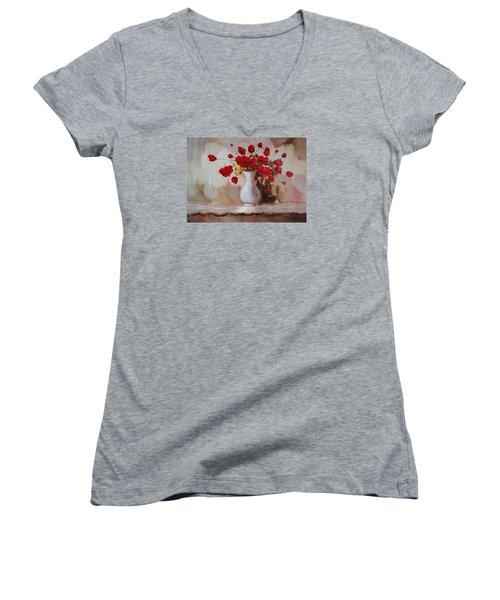 Oil Msc 009 Women's V-Neck T-Shirt (Junior Cut) by Mario Sergio Calzi