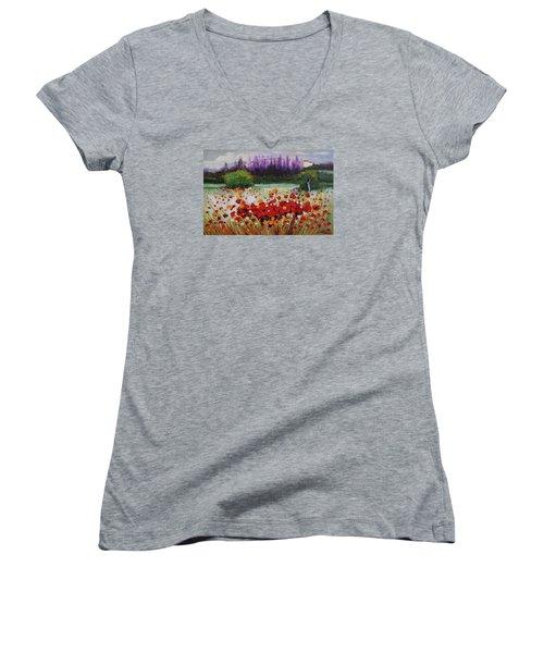 Oil Msc 031 Women's V-Neck T-Shirt (Junior Cut) by Mario Sergio Calzi