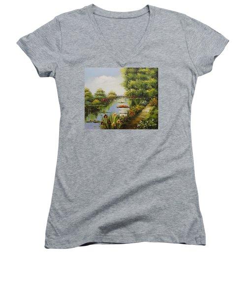 Oil Msc 038 Women's V-Neck T-Shirt (Junior Cut) by Mario Sergio Calzi