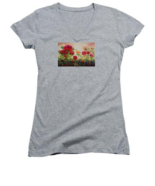 Oil Msc 060 Women's V-Neck T-Shirt (Junior Cut) by Mario Sergio Calzi