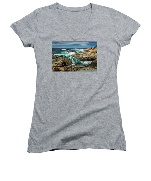 Oil Paint Of Rocks And Waves Women's V-Neck (Athletic Fit)