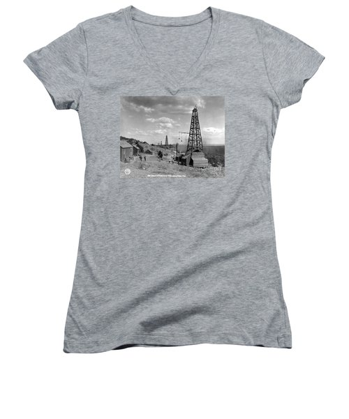 Oil Well, Wyoming, C1910 Women's V-Neck