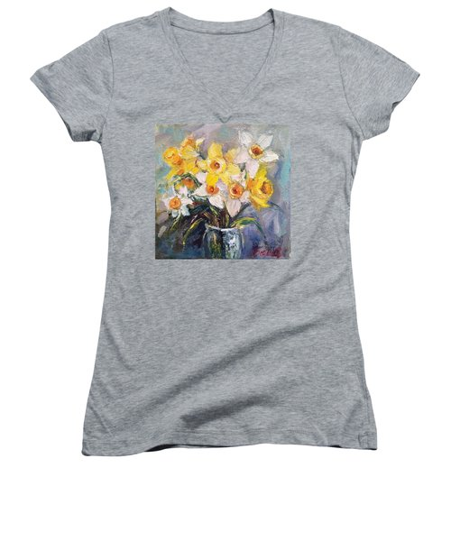 Ok Finished! #springflowers #daffodils Women's V-Neck (Athletic Fit)
