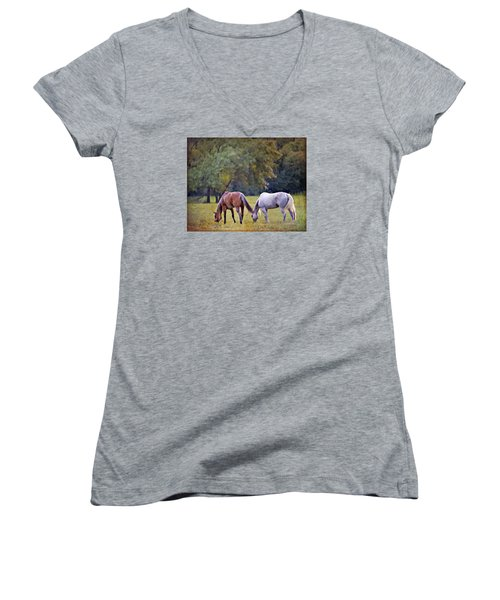 Ok Horse Ranch_2a Women's V-Neck (Athletic Fit)