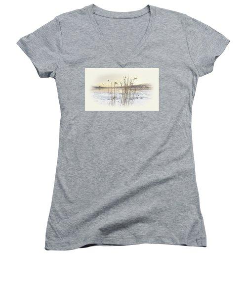 Women's V-Neck T-Shirt (Junior Cut) featuring the photograph Okanagan Glod by John Poon