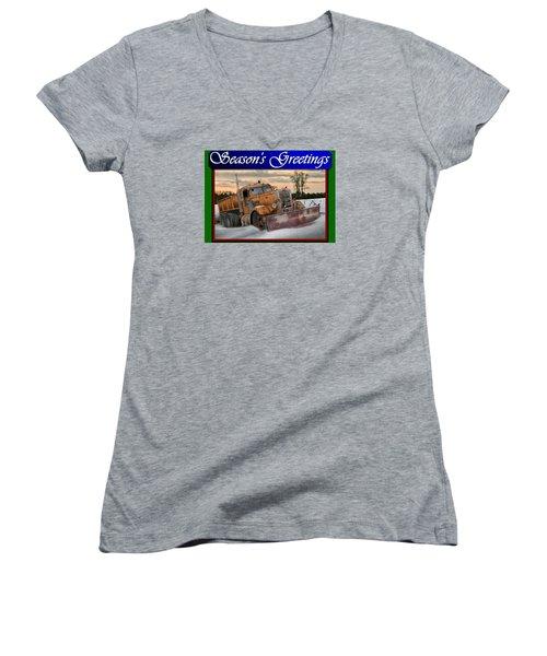 Women's V-Neck T-Shirt (Junior Cut) featuring the digital art Ol' Pete Snowplow Christmas Card by Stuart Swartz
