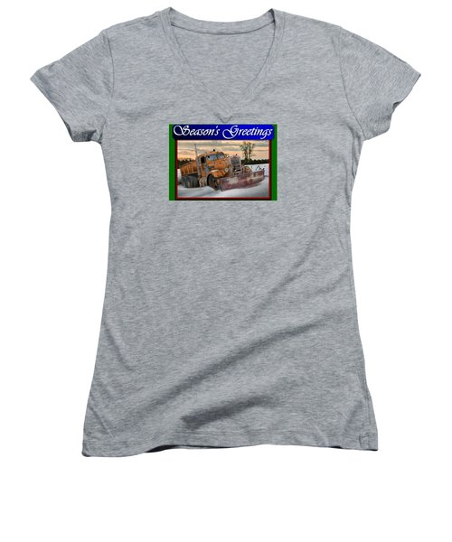 Ol' Pete Snowplow Christmas Card Women's V-Neck T-Shirt