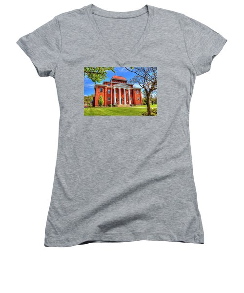 Old Ashe Courthouse Women's V-Neck T-Shirt (Junior Cut) by Dale R Carlson