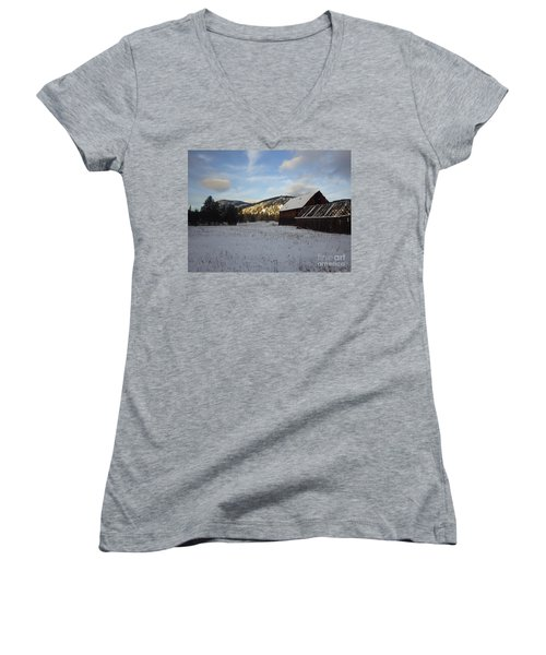 Women's V-Neck T-Shirt (Junior Cut) featuring the photograph Old Barn 2 by Victor K