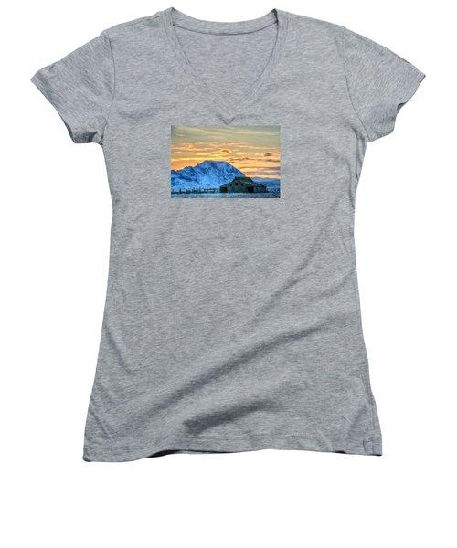 Old Barn Women's V-Neck T-Shirt (Junior Cut) by Fiskr Larsen