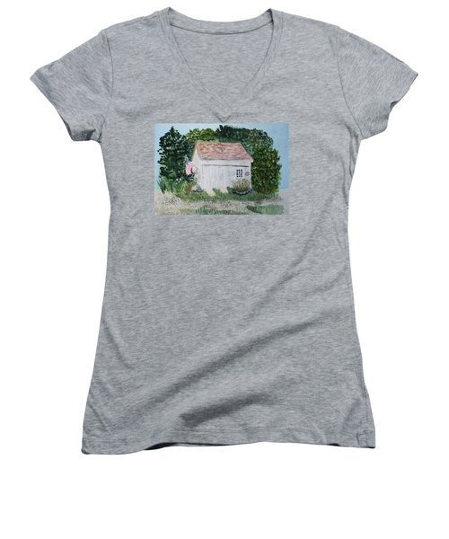 Women's V-Neck T-Shirt (Junior Cut) featuring the painting Old Barn In Eastham Ma by Donna Walsh