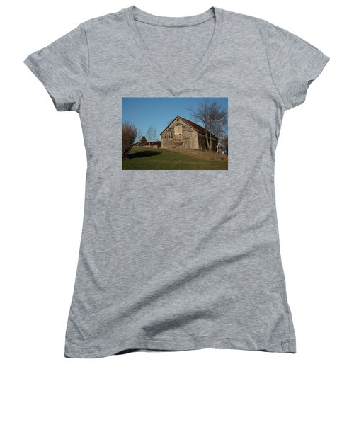 Old Barn On A Hill Women's V-Neck