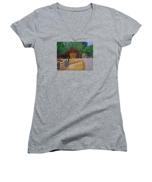Old Barn Sonoma County Women's V-Neck T-Shirt (Junior Cut) by Mike Caitham