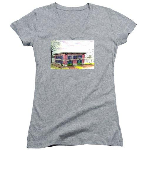 Old Beverly Firestation Women's V-Neck T-Shirt (Junior Cut) by Paul Meinerth
