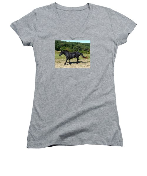 Old Black Horse Running Women's V-Neck (Athletic Fit)