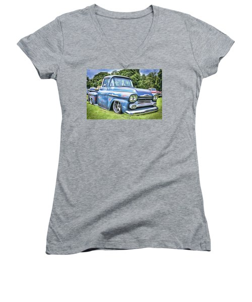Women's V-Neck featuring the painting Old Blue by Harry Warrick