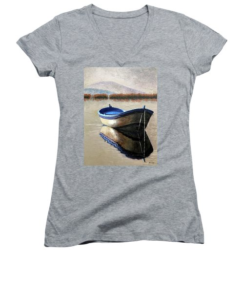 Old Boat Women's V-Neck T-Shirt (Junior Cut) by Janet King