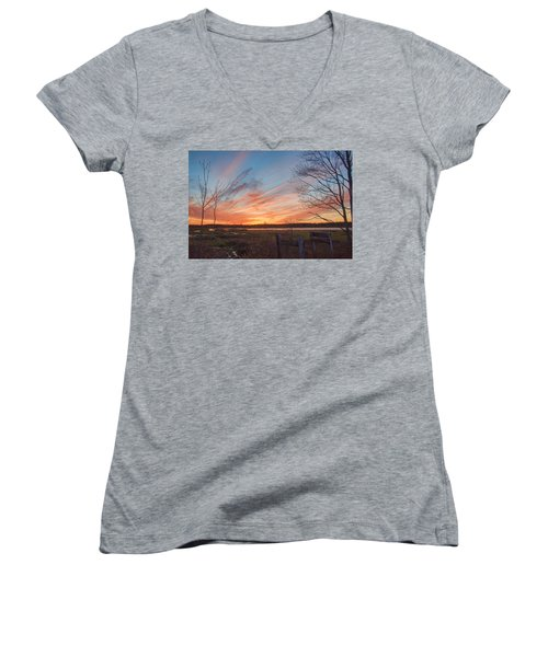 Old Bog Sunset Women's V-Neck (Athletic Fit)