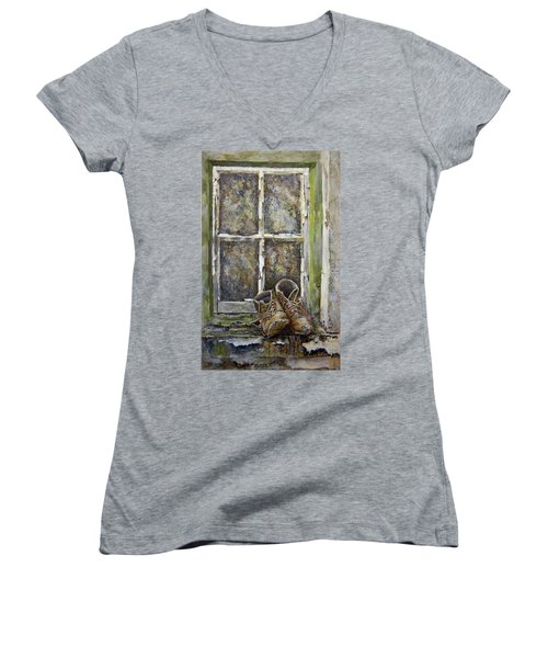 Old Boots Women's V-Neck T-Shirt (Junior Cut) by Marty Garland