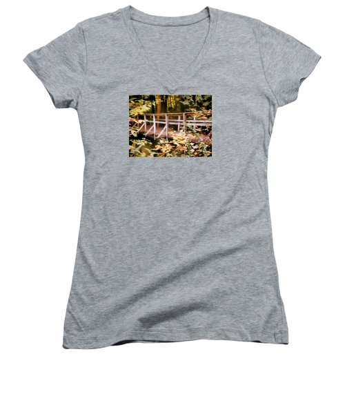 Old Bridge In The Woods In Color Women's V-Neck T-Shirt (Junior Cut) by Rena Trepanier