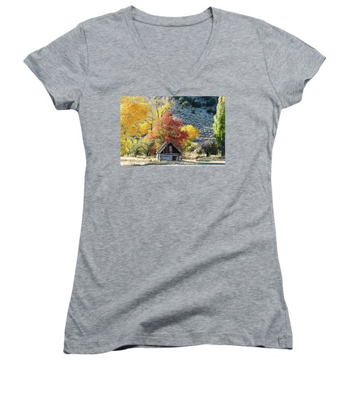 .  Butch Cassidy's Home Place  Women's V-Neck T-Shirt