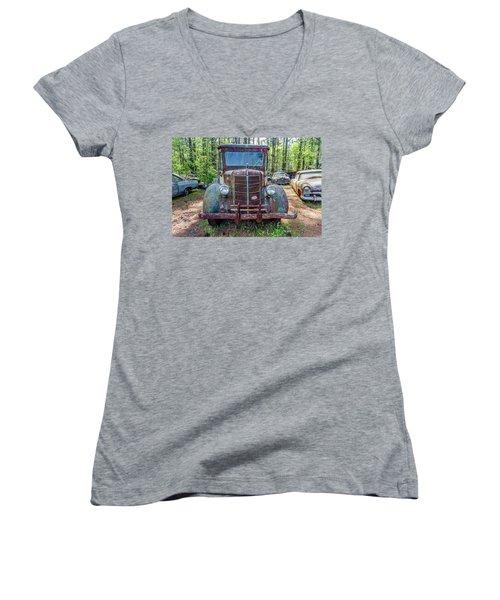 Old Car Smile Women's V-Neck T-Shirt (Junior Cut) by Menachem Ganon