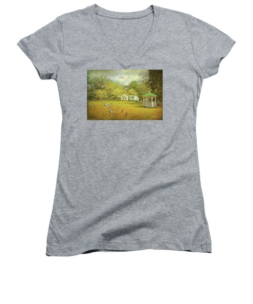 Women's V-Neck T-Shirt featuring the photograph Old Country Church by Lewis Mann