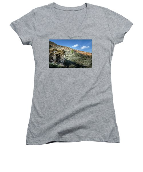 Women's V-Neck T-Shirt (Junior Cut) featuring the photograph Old Country Hovel by RicardMN Photography