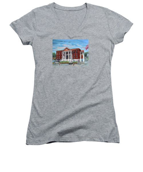 Women's V-Neck T-Shirt featuring the painting Old Courthouse In Ellijay Ga - Gilmer County Courthouse by Jan Dappen