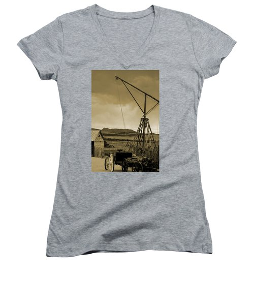 Old Crane And Shed Utah Countryside In Sepia Women's V-Neck (Athletic Fit)