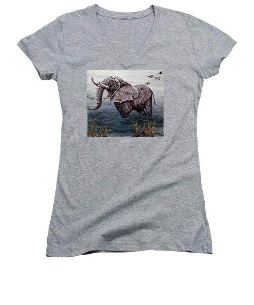 Women's V-Neck T-Shirt (Junior Cut) featuring the painting Old Elephant by Judy Kirouac