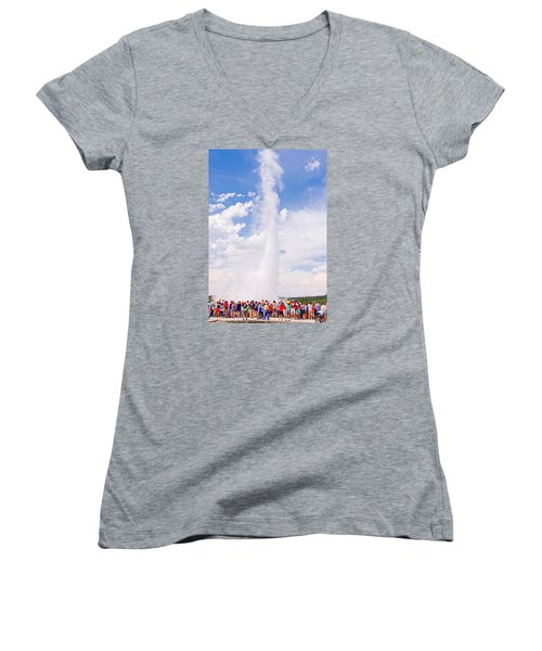 Women's V-Neck T-Shirt (Junior Cut) featuring the photograph Old Faithful Surrounded by Susan Crossman Buscho