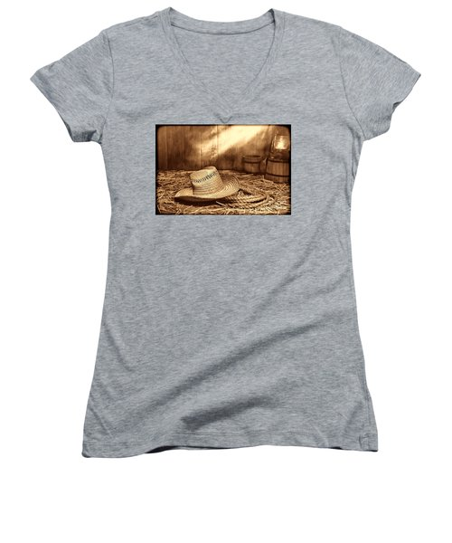 Old Farmer Hat And Rope Women's V-Neck