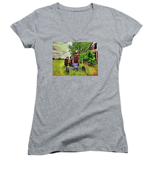 Old Ford Tractor Women's V-Neck (Athletic Fit)