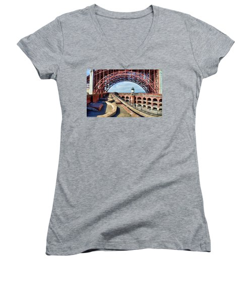Old Fort Point Lighthouse Under The Golden Gate Women's V-Neck T-Shirt