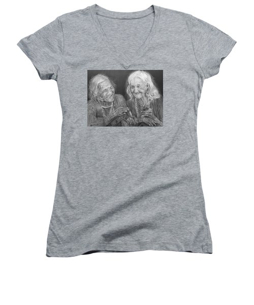 Women's V-Neck T-Shirt (Junior Cut) featuring the drawing Old Friends, Smokin' And Jokin' by Quwatha Valentine
