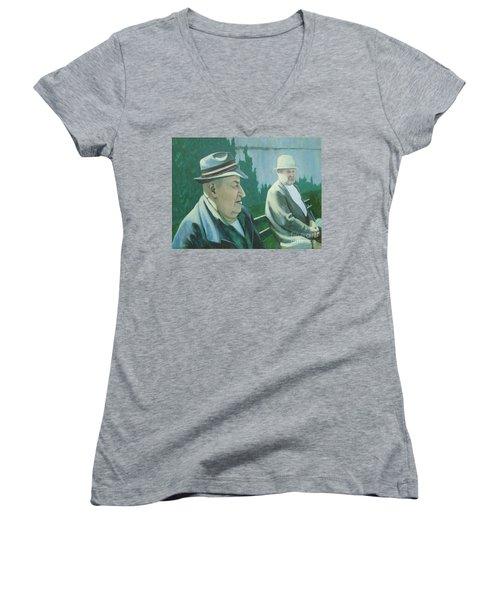 Old Friends Women's V-Neck T-Shirt (Junior Cut) by Susan Lafleur
