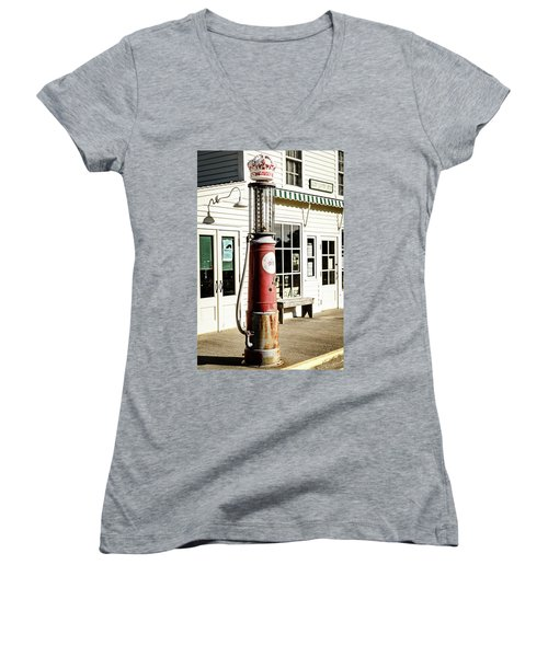 Women's V-Neck T-Shirt (Junior Cut) featuring the photograph Old Fuel Pump by Alexey Stiop