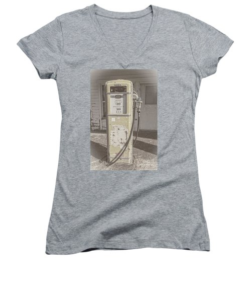 Old Gas Pump Women's V-Neck T-Shirt (Junior Cut) by Robert Bales