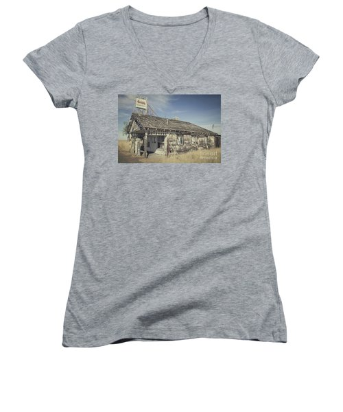 Old Gas Station Women's V-Neck T-Shirt (Junior Cut) by Robert Bales