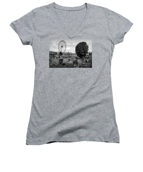 Old Glenarm Cemetery And Big Wheel Bw Women's V-Neck T-Shirt (Junior Cut) by RicardMN Photography