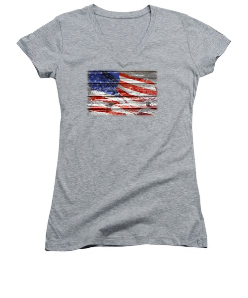 Old Glory Women's V-Neck T-Shirt (Junior Cut) by Phyllis Denton