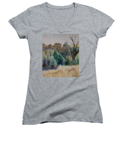 Women's V-Neck T-Shirt (Junior Cut) featuring the painting Old Growth Forest by Patsy Sharpe
