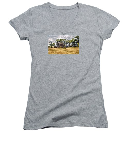 Women's V-Neck T-Shirt (Junior Cut) featuring the digital art Old House And Barn by James Steele