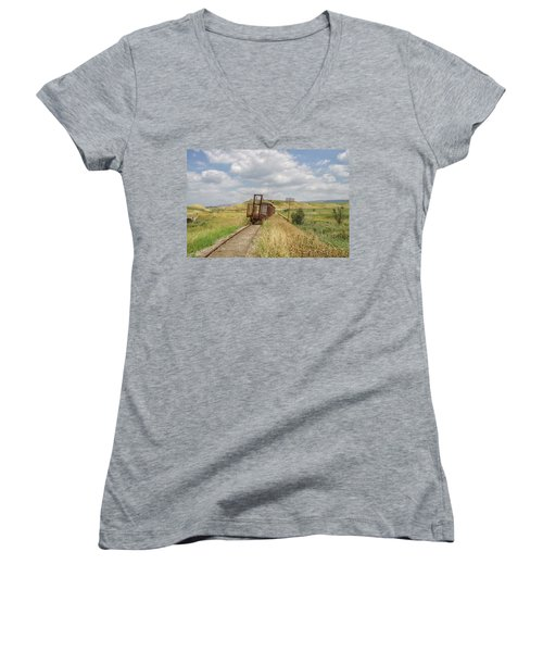 Jezre'el Valley Old Railway Station Women's V-Neck T-Shirt (Junior Cut) by Uri Baruch